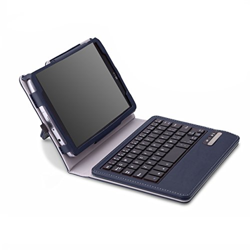 MoKo Abnehmbare Wireless Bluetooth Tastatur Drahtlose QWERTZ Keyboard mit PU Leder Tasche Schutzhülle Ledertasche Hülle Case für LG G Pad F 8.0 Zoll/G Pad 2 8.0 Tablet,Dunkel BLAU