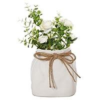 Dibor White Ceramic Planter Indoor Plant Flower Pot - W14cm