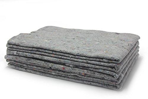 5x Packdecken - grau, 130x190cm, Made in Germany, Strapazierfähige Möbeldecken | Hochwertige Umzugsdecken, Möbelpackdecken aus Recycling-Material | Transport-Decken | Allzweckdecken Umzug/Einlagerung