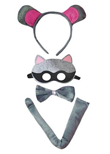 Petitebelle Maske Waschbär Stirnband Bowtie Schwanz 4pc Kostüm für Kinder Kinder One Size Grau