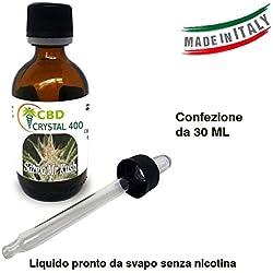 E-liquido Marihuana Cannabis CBD CRYSTAL (sin THC) 400mg PURE CBD > 99% - 30ml - Liquido para cigarrillo electronico. E-liquid SIN NICOTINA. Sabor Sativa Sr. Kush