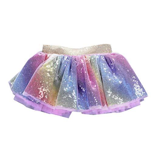 Amosfun Baby Kleinkind Kleinkind Neugeborenen Pailletten Regenbogen Tüll Tutu Rock Kleid Tanz Tutu Outfit Kostüm (Größe M, Fit für 0-2 Jahre alt)