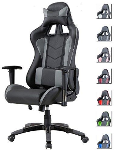 Stilvolle Home-office-möbel (Delman Bürostuhl Racing Bürostuhl Schreibtischstuhl Gaming Chair Drehstuhl mit Armlehnen Chefsessel 02-1004 (Schwarz-Grau))