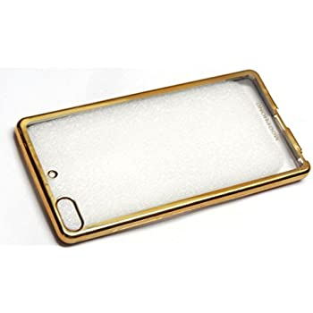 MegaByte New Luxury Perfect Fitting Electroplated Edge Gold Frame Border Bumper Plating High Quality Original TPU Soft Ultra Thin Transparent Silicone Crystal Clear TPU Flexible Back Case Cover Corner Protection for Gionee Elife S6 (Golden Edges)