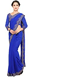 Bhavna Creation Women's Georgette Blue Saree With Blouse (blue_jumkha)