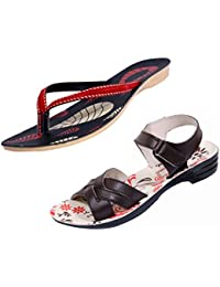 Indistar Women Comfortable Flip Flop House Slipper And Sandal-Cream/Brown/Black+Red- Pack Of 2 Pairs