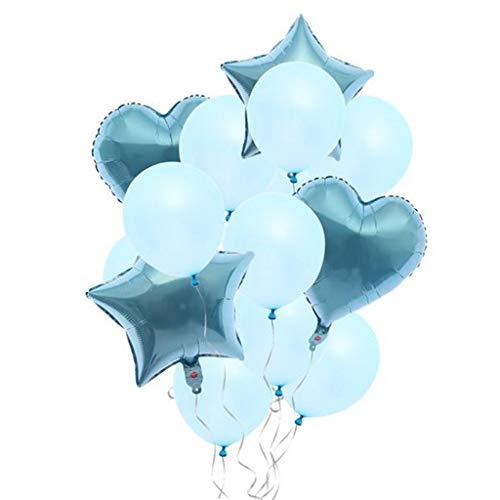 FLAMEER 14stk. Latexballon Folienballon Deko Ballon für Taufe Party und Verlobung, Farbwahl - Blau (Blaue Ballons Taufe)