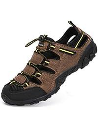 8fd3a460c Sandalias Hombre Verano Los Zapatillas de Senderismo Transpirable Low Rise  Peso Ligero Camper Cuero Sandalias Deportivas
