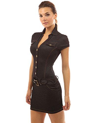 PattyBoutik femmes mini robe en denim à col V à manches courtes Noir