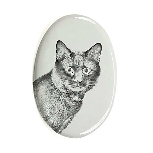 Kurilen (ArtDog Ltd. Kurilen Bobtail, Oval Grabstein aus Keramikfliesen mit Einem Bild Einer Katze)