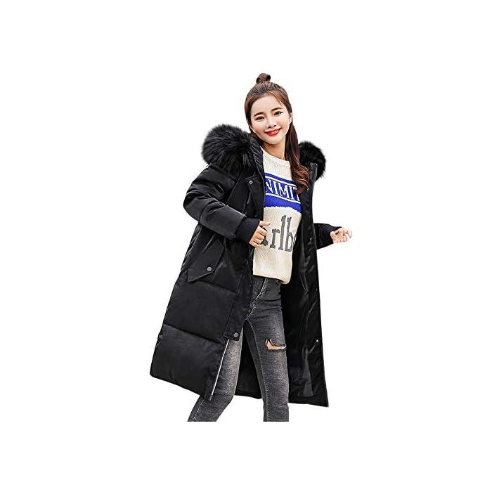 URSING Daunenjacke Damen Winter Damen Lang Parka mit Fellkapuze Schlank Warme Mantel Winterjacke Fell Kragen Lammy Jacke…