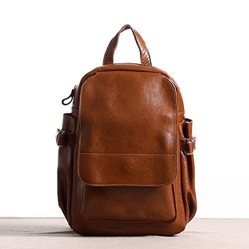 Sprnb nello zaino in pelle femmina Street, grande capacità sacchetto, viaggi borsa per computer,caffè Brown