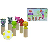 Eichhorn 100004537 - Bowlingspiel mit 6 Spielfiguren und 1x Softball, Birkenholz