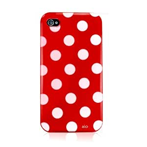 AIO® Polka Dot Gel Case & Screen Protector For (APPLE iPHONE 4S, RED)