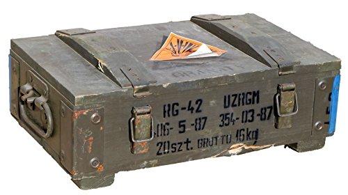RG-42 Petite boîte à munitions Épaisseur de paroi supérieure à 1cm Dimensions env. 48x 31x 16cm Dimensions intérieures 44x 25x 10cm Boîte de rangement militaire en bois Caisse à vin