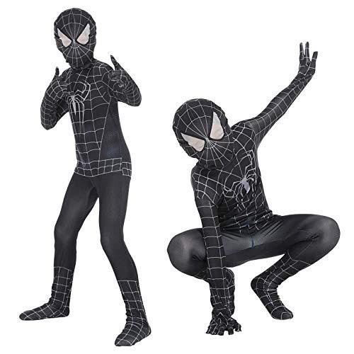 Hunde Schwarzes Spiderman Kostüm - SDFXCV Schwarz Spiderman Siamese Strumpfhosen Kinder Halloween Cosplay Anime Kostüme Venom Kostüm Body,BlackSpiderman-M(125-135cm)