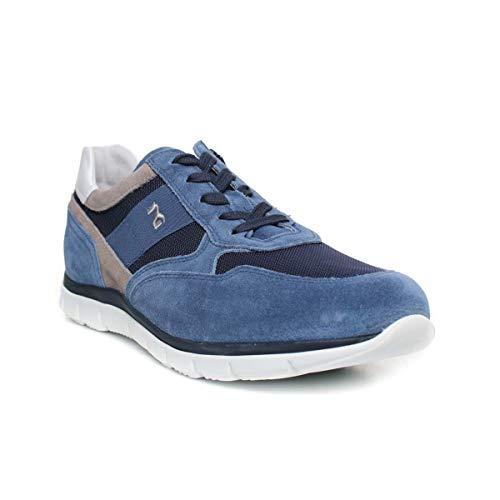 Nero giardini p900840u/244 sneakers scarpe sportive uomo lacci stringhe zip blu (40 eu)
