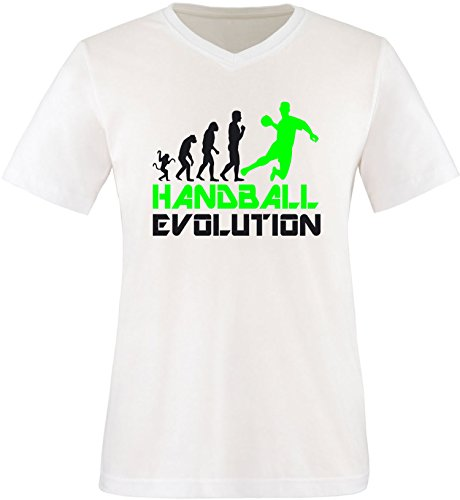 EZYshirt® Handball Evolution Herren V-Neck T-Shirt Weiss/Schwarz/Neongr