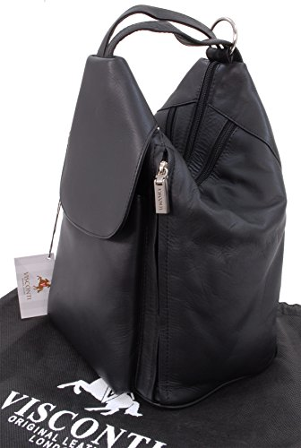 Borse a zainetto, Backpack in pelle Visconti - 18357 Nero