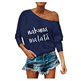 LILIHOT Frauen Langarm Bluse Tops Schulterfrei Brief Drucken Tops Casual Herbst Tops Pullover Damen Locker Off Shoulder Sweatshirt Langarmshirts Sweatjacke Oberteile Tops Shirts Hemd Bluse -