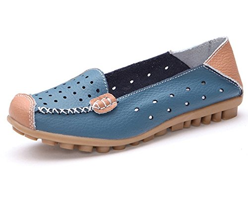 Minetom Donne Moda Loafer Scarpe Hollow Mocassino Pantofole Tallone Piano Estate Scarpe Blu