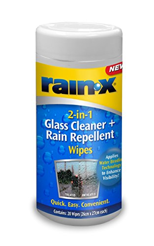 Rain-X 88199WIPE 2-in-1 Glass Cleaner and RAIN Repellent Wipes, 20