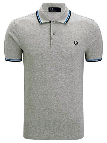 Fred Perry Herren Poloshirt M3600-524 Marl Grey/Turqoise/Black