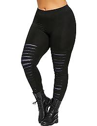 6b01b3c4ef7d FRAUIT Donna Skinny Eleganti Pantaloni Vita Alta Yoga Tinta Unita Taglie  Forti Bucati Pants Elastico Fitness