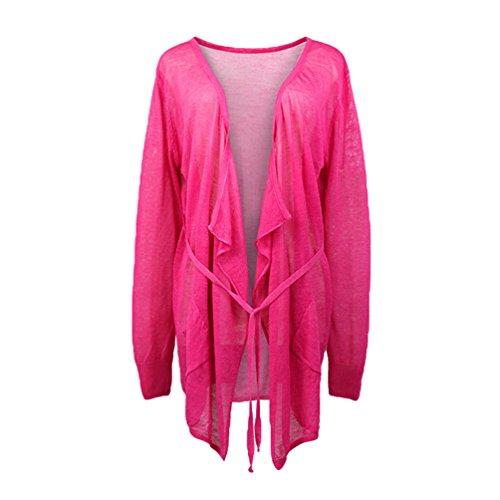 Dooxi Donna Autunno Colori Solidi Cardigan Manica Lunga Aria Condizionata Lungo Maglieria Giacca Rose