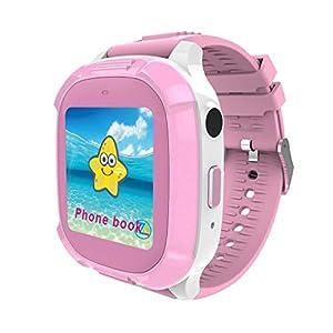 Kongnijiwa Watch Series Smart Watch Kinder Echtzeit-Tracking-Armbanduhr Wasserdichte Baby-Uhr Voice Chat Breathing Lamop Kinder Smartwatch, Farbe Rosa