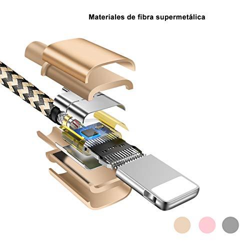 OTISA Cable Phone Cargador [3Pack 1.5M] USB Adaptador Compatible con Phone XS/XR/X/8 Plus/8/7/6S/6+/6,  Pad y más (Plateado Dorado Rosa)