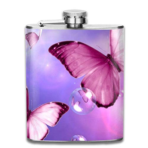 Miedhki Beautiful Pink Butterfly Bubble Outdoor Portable 304 Stainless Steel Leak-Proof Alcohol Whiskey Liquor Wine 7OZ Pot Hip Flask Travel Camping Flagon for Man Woman Flask Great Little Gift