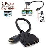 Fetestiic HDMI Splitter Adapter für 1080P HDTV, Dual HDMI Adapter, HDMI-Stecker auf 2 HDMI Splitter Buchsen Unterstützung für Xbox, Blueray, DVD-Player, PS3