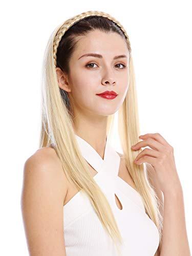 Wig me up ® - tyw60875h-26 mezza parrucca toupet prezioso cerchietto intrecciato lisci molto lunghi 70 cm biondo chiaro biondo oro chiaro