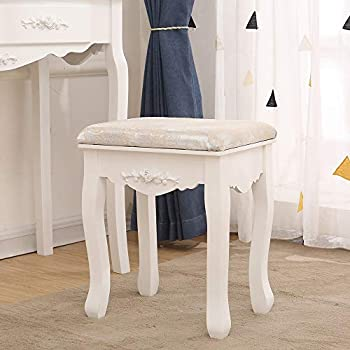 BOJU White Dressing Table 4 Drawers and Stool Set with Single Mirror Large Bedroom Vanity Makeup Table for for Ladies Girls Woman Gift