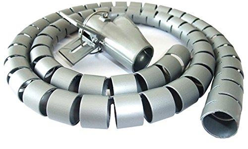 Zerone Spiralschlauch Kabel Organizer Wire Wrap Cord Protector Speicherrohr 1,5 M Schwarz Weiß Silber(Silver:1.5m * 16mm) -