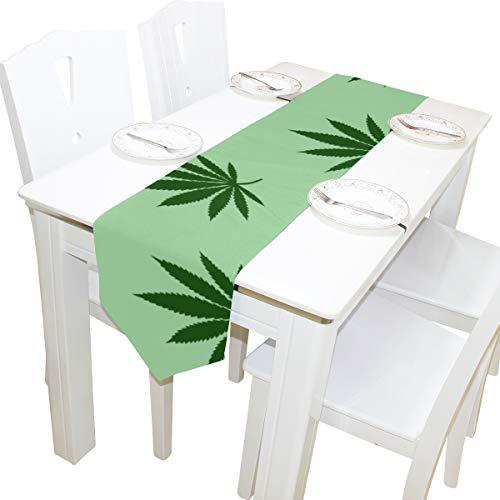 Yushg Cannabis Marihuana Blätter Vintage Kommode Schal Tuch Abdeckung Tischläufer Tischdecke Tischset Küche Esszimmer Wohnzimmer Home Hochzeitsbankett Dekor Indoor 13 x 90 Zoll