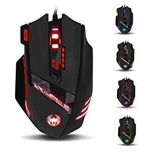 GranVela T90 Gaming Maus 9200 DPI mit 8 Tasten LED USB Wired Maus (Schwarz)
