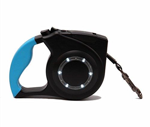 Flexible Seil-beleuchtung (DXABLE Pet Einziehbare Hundeleine, LED Flexible Leine Welpenkatze Automatische Blei Reflektierende Hundeleine Blei Nylon, Knopf zum Bremsen & Verschluss, Mit Rundlicht Für Kleine bis Mittlere Hunde Bis zu 77kg (Blue))