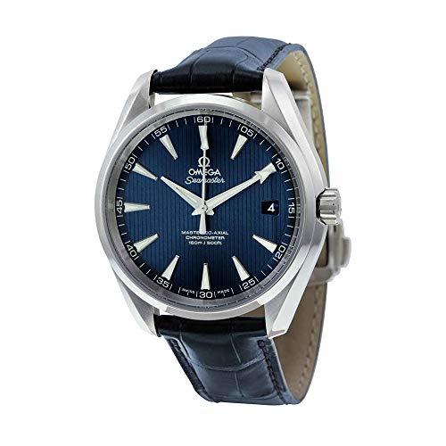 OMEGA Homme 42mm Bracelet Cuir Bleu Boitier Acier Inoxydable Saphire Automatique Montre 23113422103001