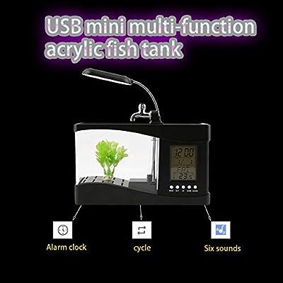 Bigherdez Neue USB Desktop Mini Aquarium Aquarium LCD Timer Clock LED Lampe Licht schwarz Worldwide Store - schwarz