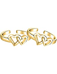 14k Yellow Gold Over .925 Sterling Silver Adjustable Double Open Heart Midi Ring Sterling Silver Toe Rings