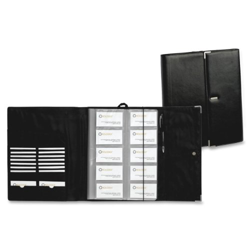 FAUX LEATHER BUSINESS CARD BOOK HOLDS 240 2 1/4 X 4 CARDS  BLACK/SILVER
