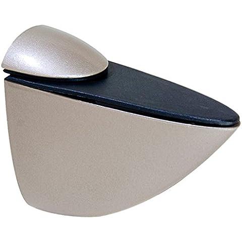 Emuca 4009424 - Lote de 2 soportes mod. Azor para estante de madera o cristal de espesor 0-25mm acabado níquel mate