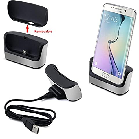 S6 / S6 Edge Charger , Leegu Silver USB Data Sync desktop Charging Cradle dock docking station battery charger stand for Samsung Galaxy S6 / S6 Edge