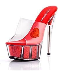 DIMAOL Zapatos de Mujer de Silicona Bomba Básica de Verano Tacones Stiletto Talón Puntera Redonda de Cristal Rojo...