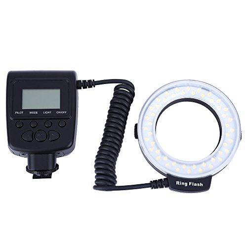 Makro Führte Ring-Licht mit LCD-Anzeigen-Energien-Steuer-LED Ring-Blitz für Canon Nikon DSLR Kameras mit Blauem, Orange, Auster Weiß-Blitz-Diffusor