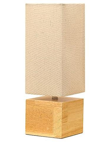 Hompen Tischlampe mit Stabilem Holzsockel Und Rechteckigem Leinenschirm in Warm-Grau, Schreibtischlampe für Wohnzimmer, Schlafzimmer, Indoor Deko - 5W LED Glühbirne