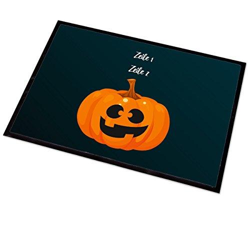 Cera & Toys Fußmatte 50x70 cm mit Aufdruck Ihrer Wunschtexte in 2 Zeilen zu Halloween - Motiv: Kürbis