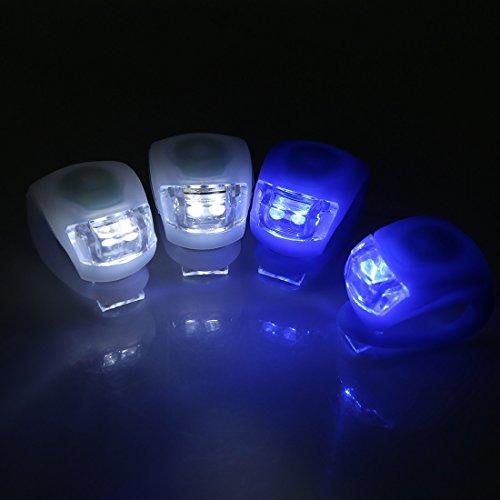 Iiniim 4pcs silicone luci LED bicicletta fanale posteriore faro torcia per sicurezza ciclismo attività all